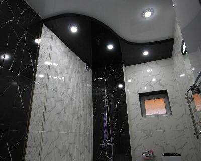 Двухуровневые натяжные потолки, Глянцевые натяжные потолки, Натяжной потолок в ванную