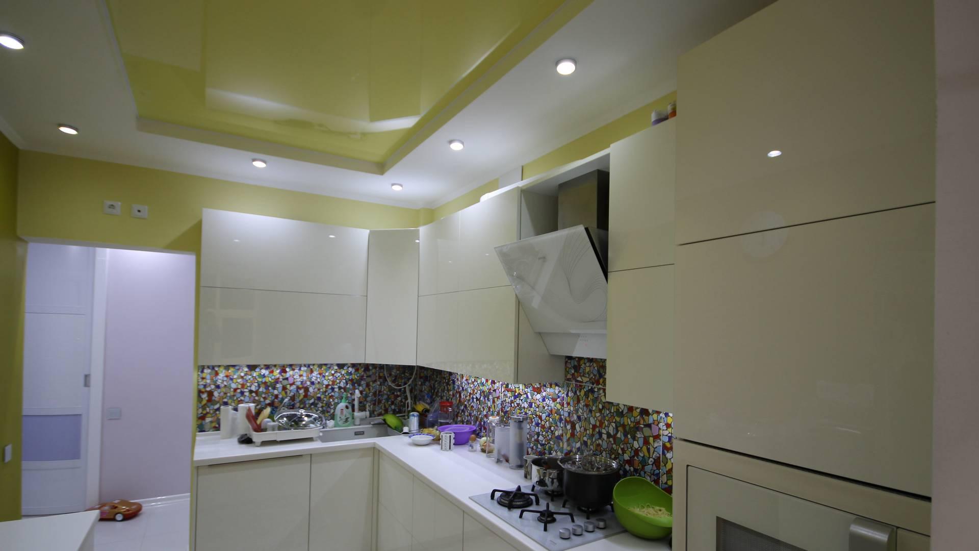 Двухуровневые натяжные потолки, Натяжные потолки для кухни, Матовые натяжные потолки