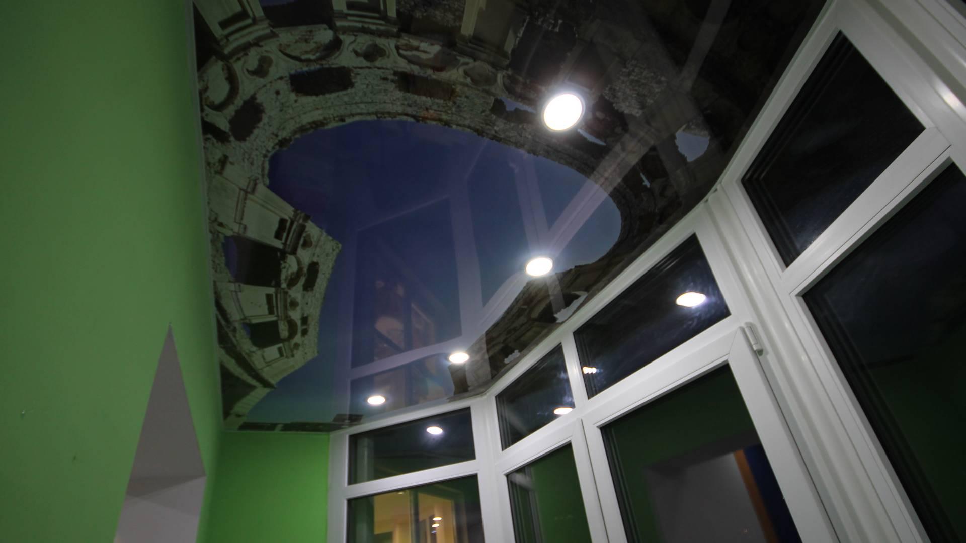 3д фото печать на натяжном потолке, Натяжной потолок на балконе, Глянцевые натяжные потолки, Фото печать на натяжном потолке