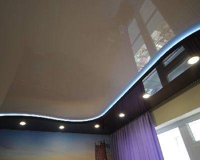 Двухуровневые натяжные потолки, Глянцевые натяжные потолки, Натяжные потолки с подсветкой