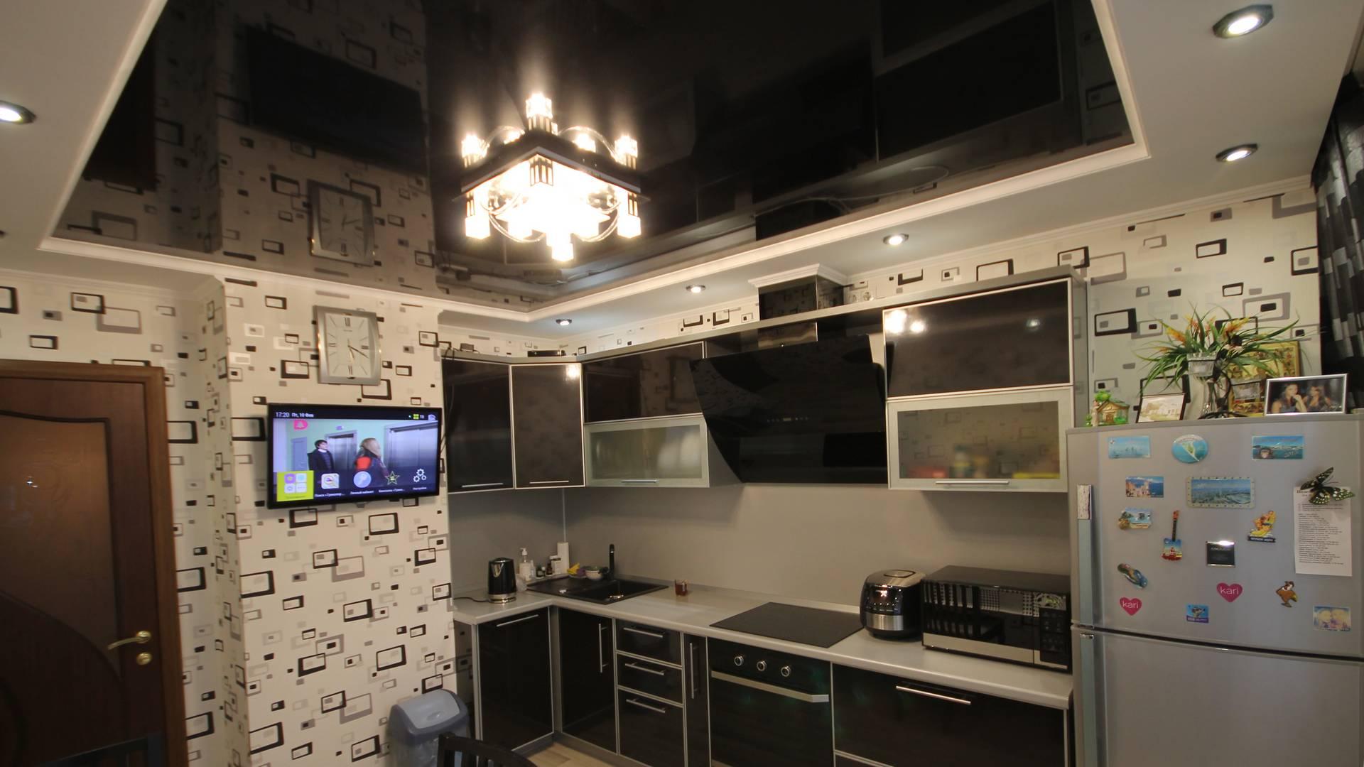 Глянцевые натяжные потолки, Двухуровневые натяжные потолки, Натяжные потолки для кухни