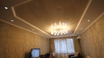 Натяжные потолки в зал, Глянцевые натяжные потолки, Двухуровневые натяжные потолки